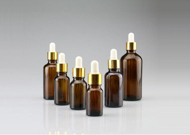 50ml Amber Glass Dropper Bottles Screw Lid For Chemical / Cosmetic Packaging