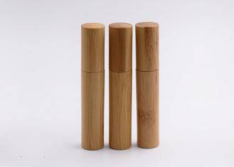 Bamboo Roll On Perfume Bottles Engraving Surface With Stainless Steel Ball